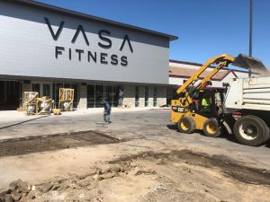 Vasa Fitness parking lot before asphalt is poured