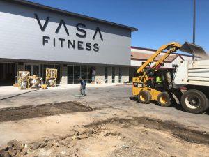 Vasa Fitness parking lot before asphalt is poured