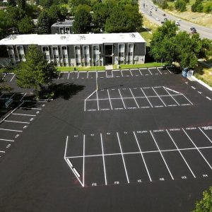 striped asphalt parking lot
