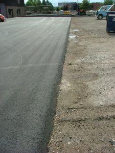 edge of poured asphalt